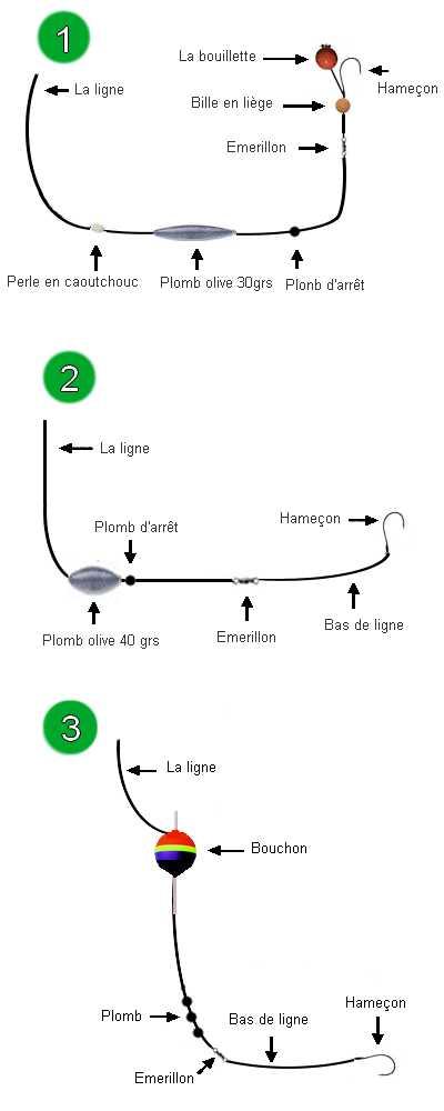 Montage carpe 5 montages pour la p che la carpe en tang - Comment faire une ligne de peche au coup ...